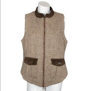 English Country Wool Riding Vest Brown Houndstooth